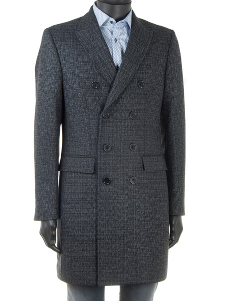 Charcoal Wool Tweed Top Coat