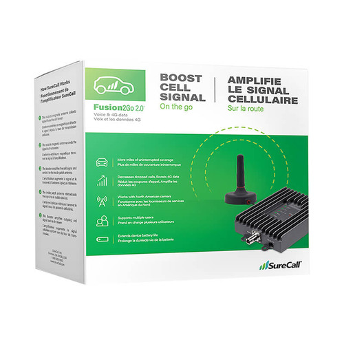 SureCall Fusion2Go 2.0 4G Cell Phone Signal Booster Kit - package
