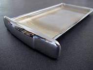 """NEW CHROME Center Griddle Grease Drip Tray. This is the thin indented pull style. Fits the vintage 1940's-1950's Wedgewood Gas Stoves. The metal integrity is excellent. MEASUREMENTS (does not incl. the handle pull): 8-3/4"""" x 4-7/8"""""""