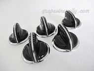"""Set of 5 Vintage BLACK Wedgewood Gas Stove Flush Mount Control Knobs. These knobs fits the vintage 1940's-1950's Wedgewood gas stoves. There are no cracks, chips in the plastic/bakelite, all rear """"D's"""" are in very good shape. All knobs have a brilliant shine, in excellent condition. These are all stunning and extremely rare."""