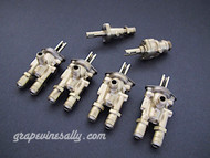 """Set of 6 Original Vintage O'Keefe & Merritt, Wedgewood Gas Burner Control Valves. Set Includes: 4 gas burner valves + 1 center griddle valve + 1 Broiler Oven Valve. Our valves are all re-greased, the stems turns smoothly and the threads are in good condition.  Please note: The orifice holes on this style burner valve are 3/4"""" apart, outer edges are 1.0""""  THESE VALVES ARE USED - Please note, we recommend you have a certified technician or company with experience in this area inspect these parts prior to installation."""