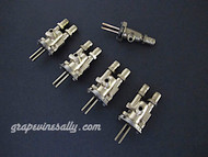 """Set of 5 Original Vintage O'Keefe & Merritt, Wedgewood Gas Burner Control Valves. Set Includes: 4 gas burner valves + 1 center griddle valve + 1 Broiler Oven Valve. Our valves are all re-greased, the stems turns smoothly and the threads are in good condition.  Please note: The orifice holes on this style burner valve are 3/4"""" apart, outer edges are 1.0""""  THESE VALVES ARE USED - Please note, we recommend you have a certified technician or company with experience in this area inspect these parts prior to installation."""