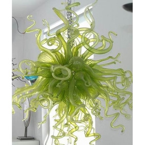 Candice Crystal Green Hand Blown Glass Art Chandelier