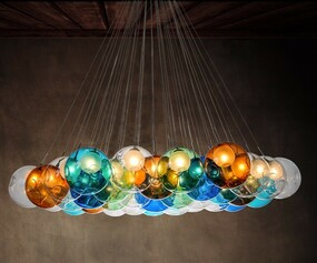 California Crystal Multicoloured Glass Ball Pendant Light