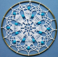 CMPATC007 Crocheted Sun-catcher (White with blue beads)