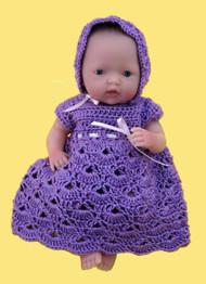 "CMPATC055 Shell Pattern Outfit for 7.5"" Mini La Newborn Baby Doll"