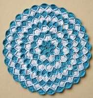 CMPATC074 Round Doily (Blue and White in Bavarian Crochet)