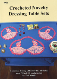 Picture of front cover of Craft Moods book BK33 Crocheted Novelty Dressing  Table Sets showing designs for Lady in Pink, Butterflies, Swans, Pansy Basket and Irish Rose and Leaf.