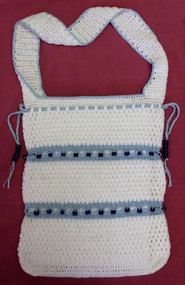 CMPATC089 Shoulder Bag with Beaded Broomstick crocheted bands.