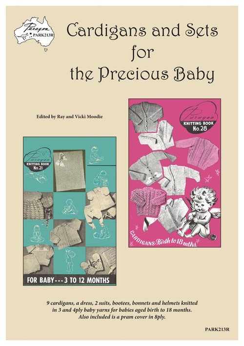 Front cover image of Paragon Heritage series Baby Knitting Book PARK213R - Cardigans and Sets for the Precious Baby.