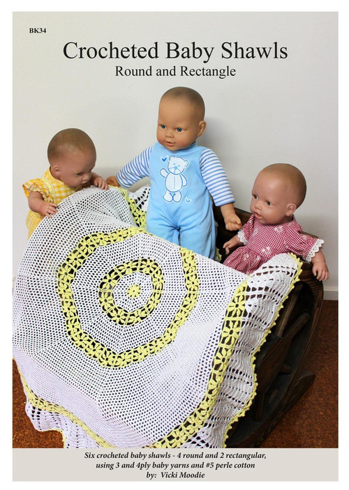 Front cover Australian Craft Moods book BK34, Crocheted Baby Shawls - Round and Rectangle, by Vicki Moodie, six crocheted baby shawls, 4 round and 2 rectangular, using 3 and 4ply baby yarn and #5 perle cotton.