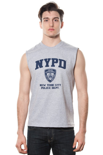 Mens NYPD Oxford Muscle Shirt with Navy Chest Print