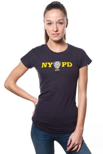 NYPD Ladies Navy Cap Sleeve Tee with Yellow Print