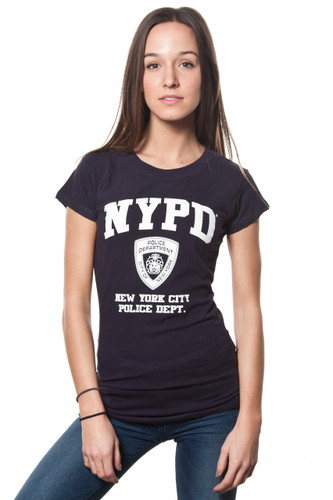 NYPD Ladies Navy Cap Sleeve Tee with White Print