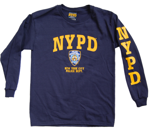 NYPD Kids Unisex Navy Long Sleeve Tee with Yellow Chest and Sleeve Print