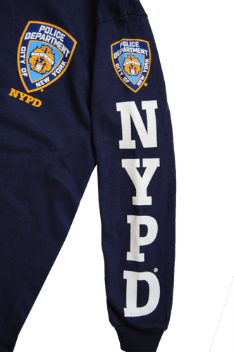 NYPD Kids Unisex Navy Long Sleeve Tee with White Sleeve Print and chest Patch