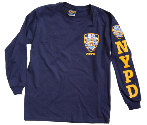 NYPD Kids Unisex Navy Long Sleeve Tee with Yellow Sleeve Print and Chest Patch