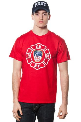 FDNY Adult Red Emplem Print Tee