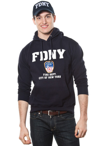 FDNY Adult Navy Pullover Hoodie with Embroidered Applique Design