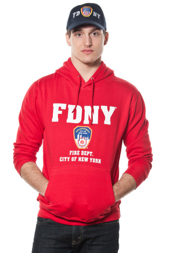 FDNY Adult Red Pullover Hoodie with Embroidered Applique Design