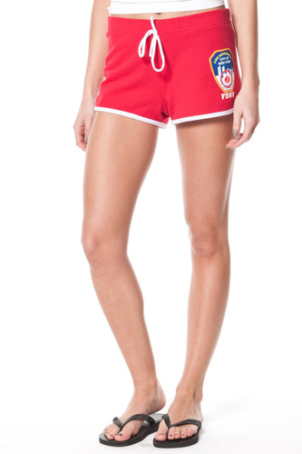 FDNY Ladies Red French Terry Short with FDNY on back and Emblem on Front