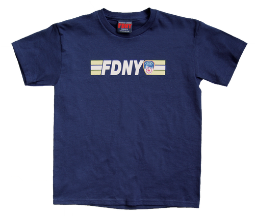 FDNY Kids Navy Tee with Front and KEEP BACK Print