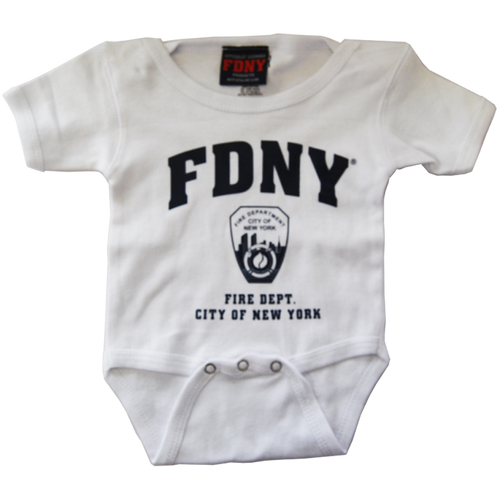 FDNY Infants White Onesie with Navy Chest Print