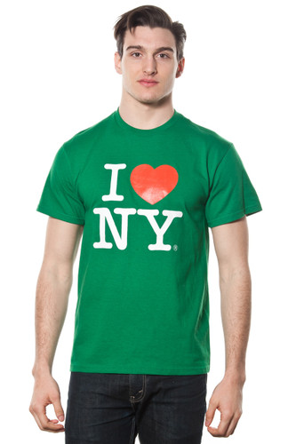 Mens I LOVE NY Short Sleeve T-Shirt Green