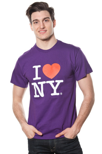 Mens I LOVE NY Short Sleeve T-Shirt Purple
