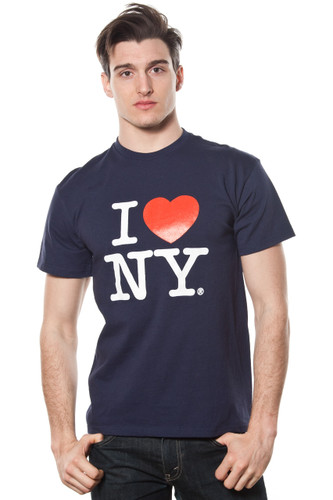 Mens I LOVE NY Short Sleeve T-Shirt Navy