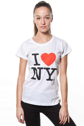Ladies I LOVE NY Cap Sleeve T-Shirt White