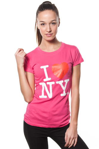 Ladies I LOVE NY Cap Sleeve T-Shirt Fuschia