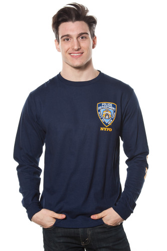Adult NYPD Long Sleeve Tee with Logo Patch
