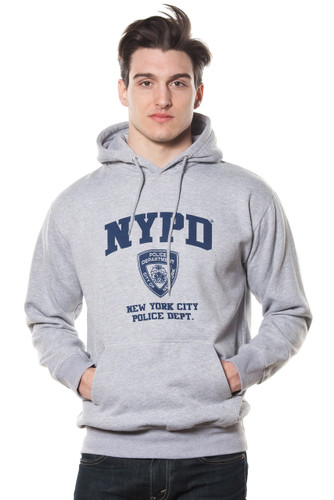 Adult NYPD Oxford Grey Pullover Hoodie with Navy Print