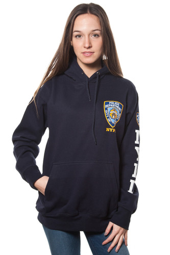 Adult NYPD Navy Pullover Hoodie with Chest patch and sleeve print