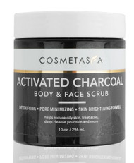 Cosmetasa Activated Charcoal Body & Face Scrub 10 Oz.