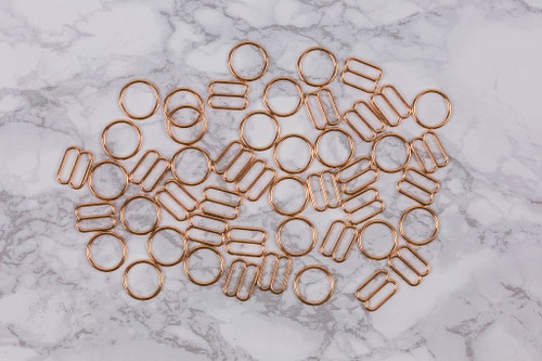 """1/2"""" Rose Gold Metal Rings and Sliders PREMIUM Nickel Free By The Set or By The Dozen"""
