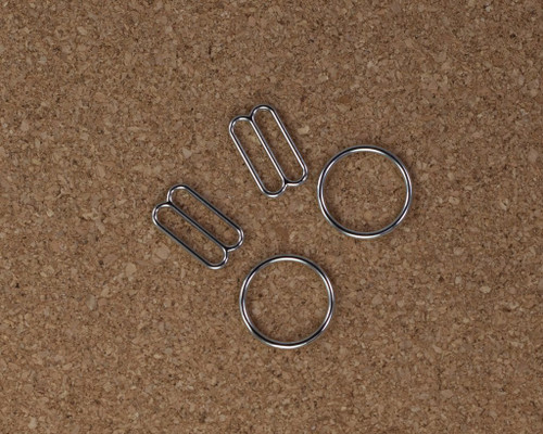 """5/8"""" Silver Metal Rings and Sliders PREMIUM Nickel Free By The Set or By The Dozen"""