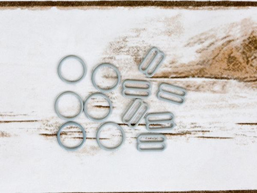 """5/8"""" High Rise Grey Nylon Coated Metal Rings and Sliders By The Set"""