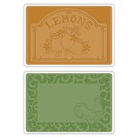 Sizzix Texture Impressions Embossing Folders - Rooster Frame & Lemon Label Set 658970