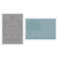 Sizzix Texture Impressions Embossing Folders - Flowers & Perfume Label Set 658969