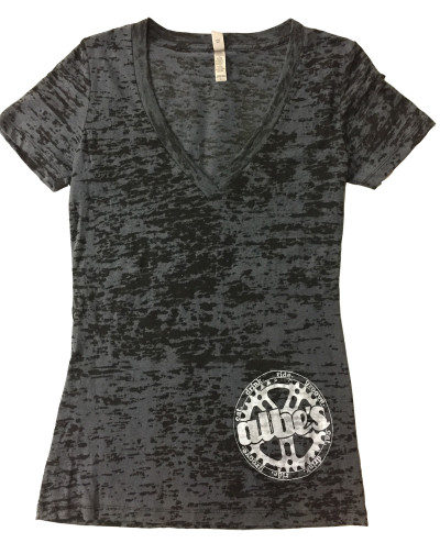 Albe's BMX womans burnout v-neck shirt in Black at Albe's BMX