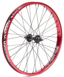 Stolen Rampage Front wheel in red at Albe's BMX Bike Shop