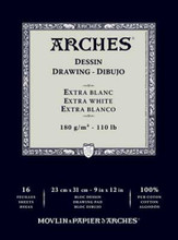 Arches Dessin Drawing Pad Extra White 180GSM - 26cm x 36cm