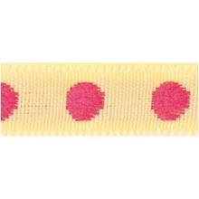 Rico Design Fabric Ribbon - Dots, Yellow/Pink