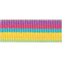 Rico Design Fabric Ribbon - Stripes, Multicolour Neon