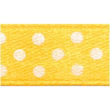 Polka-Dot Satin Ribbon - Yellow with White Dots