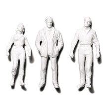 Preiser Unpainted Detailed Standing Figures (2 Men, 1 Woman) - 1:24