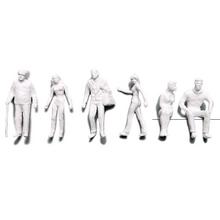 Preiser Unpainted Detailed Various Figures (Standing, Walking, Sitting) - 1:50