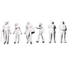 Preiser Unpainted Detailed Various Figures (4 Standing, 2 Walking) - 1:50